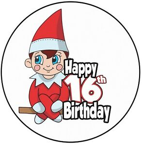 Image Is Loading Red Elf 16th Birthday Cake Topper 8 034