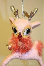 Katherine´s Collection Süsses Bambi Reh Retro Glitter Aufhänger rosa 13,5cm NEU
