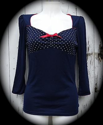 Blue & White Polka Dot 3/4 Sleeve Rockabilly Top With Red Bow - Size 10 12 14 16