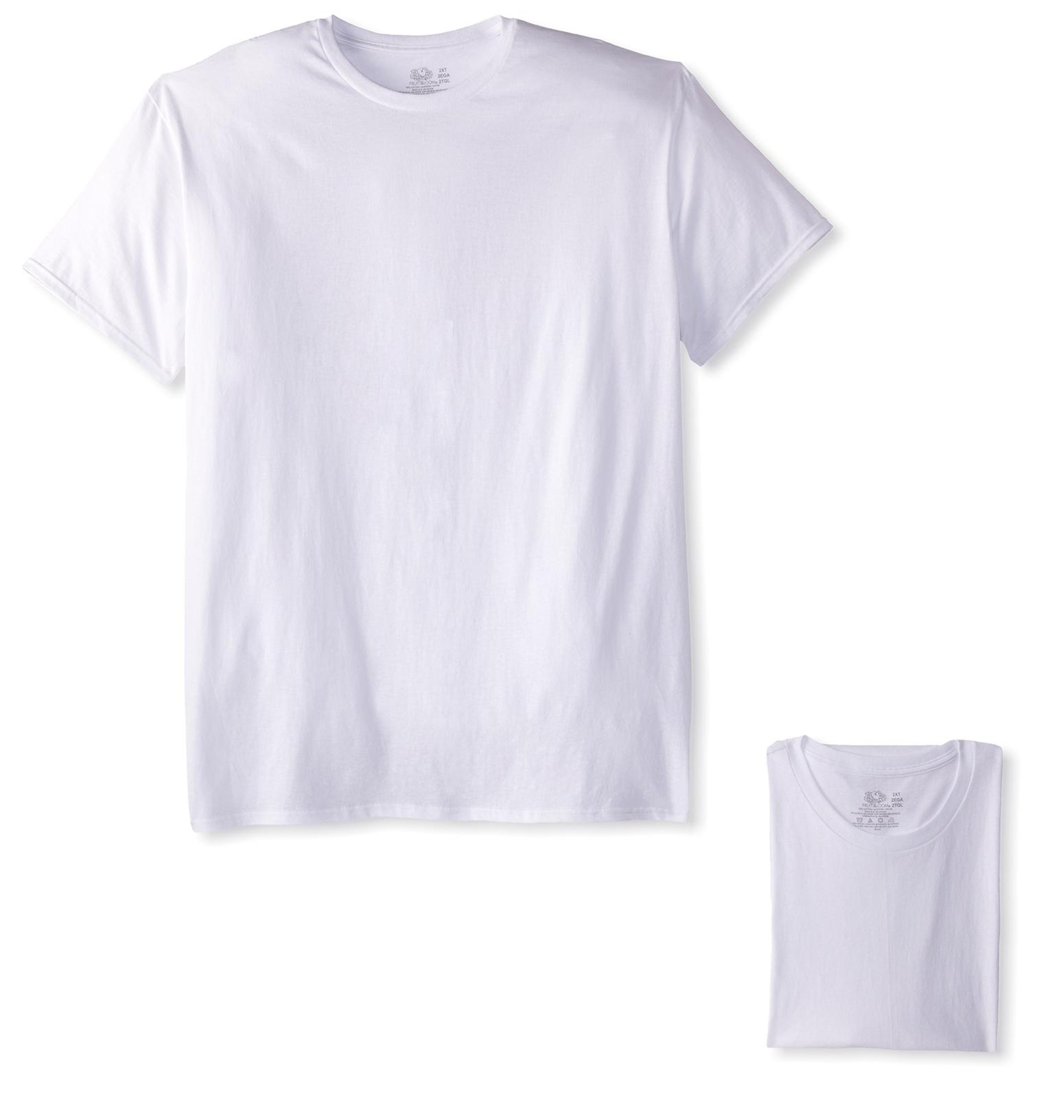 NEW Fruit of the Loom Mens 3 Pack Tall Man Crew Neck T shirt White 2XLT