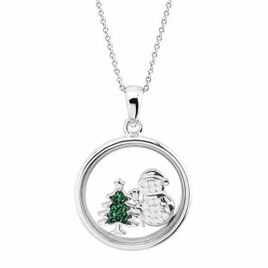 Finecraft Snowman & Christmas Tree Holiday Shaker Pendant Necklace
