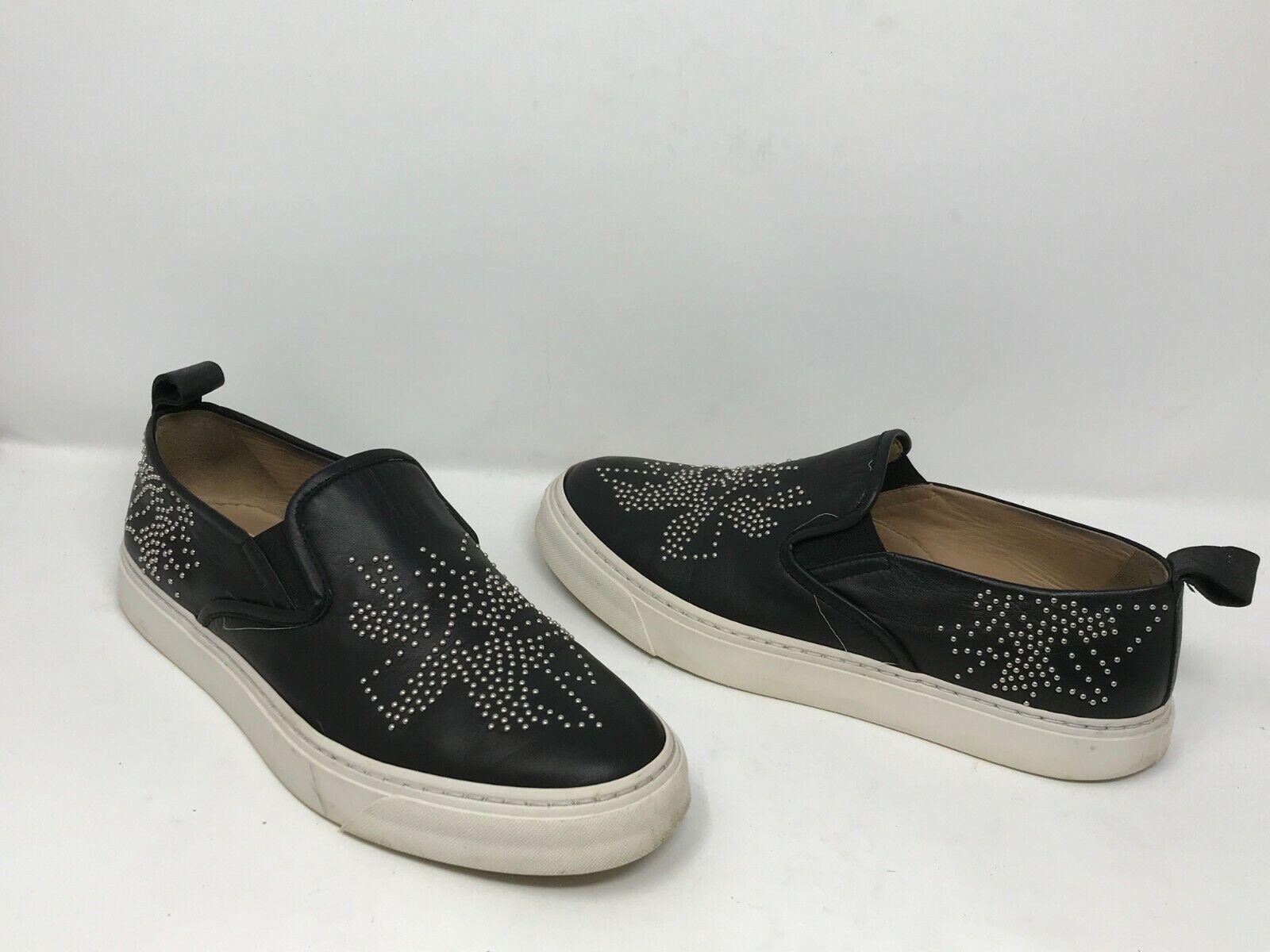 WORN CHLOE en cuir noir Argent Métallisé Clouté Mocassins Slipon Chaussures SZ 39 8.5