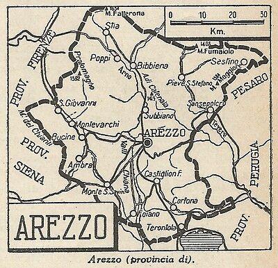 Cartina Geografica Di Arezzo.A4820 Provincia Di Arezzo Carta Geografica Antica Del 1953 Old Map Ebay