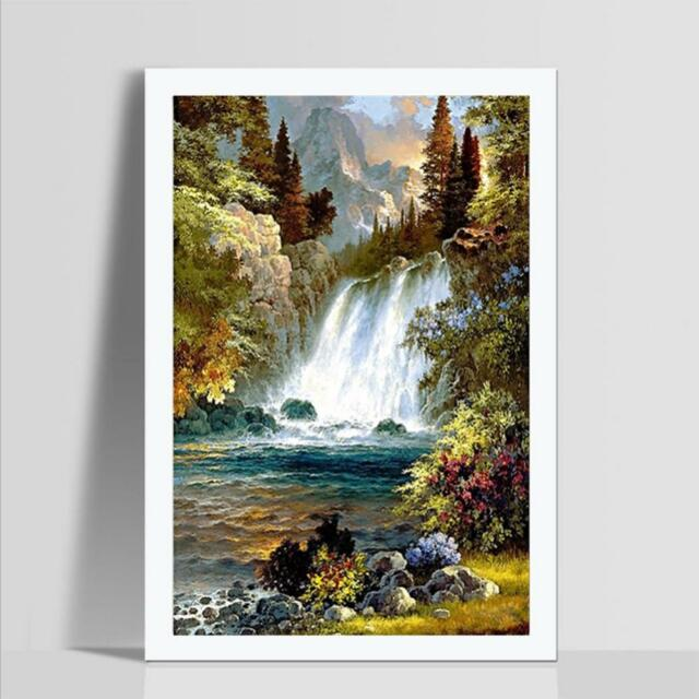 6e4fbce871 Waterfall Full Drill DIY 5D Diamond Painting Embroidery Cross Stitch Kit  Decor