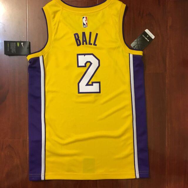NEW NIKE DRI-FIT NBA LAKERS LONZO BALL 2 YELLOW JERSEY SWINGMAN MEN SIZE  MEDIUM c03938c3c