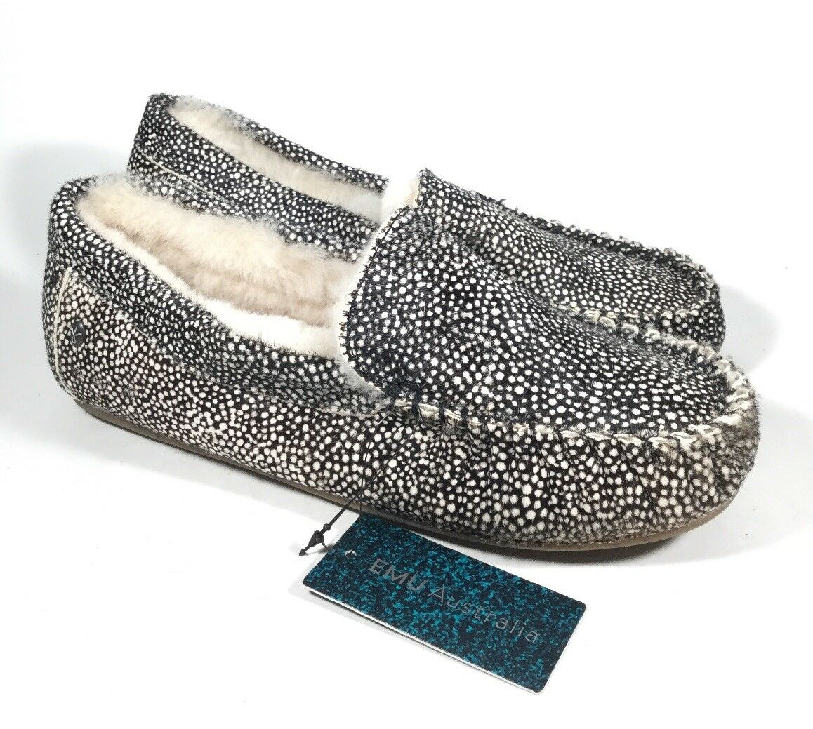 M4357L New Women's EMU Australia Amity Fur White Spot Slipper US 7 M