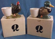 QUAIL POTTERY HEN AND MALLARD DUCK EGG CUPS UNUSED ORIGINAL BOXES FARM KITCHEN