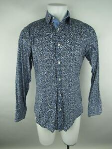 Banana-Republic-Men-SZ-M-en-Coton-Bleu-Sur-Mesure-Slim-Floral-Bouton-Front-Shirt