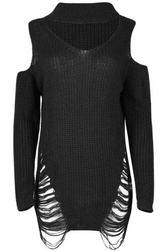 Womens Oversize Knit Destroy Cold Cut Out Shoulder Choker Neck Mini Ripped Dress