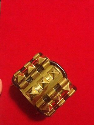 Fallon Classique Labyrinth Spike Gold Plated Brass Leather Cuff Bracelet