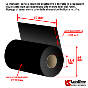 Ribbon-H-40-mm-x-300-m-ink-out-WAX-Nastro-carbongrafico-a-base-cera-per-stam