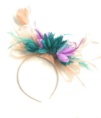 Coral Pink Green Fascinator Headband Wedding Ascot Races BESPOKE Cadbury Purple