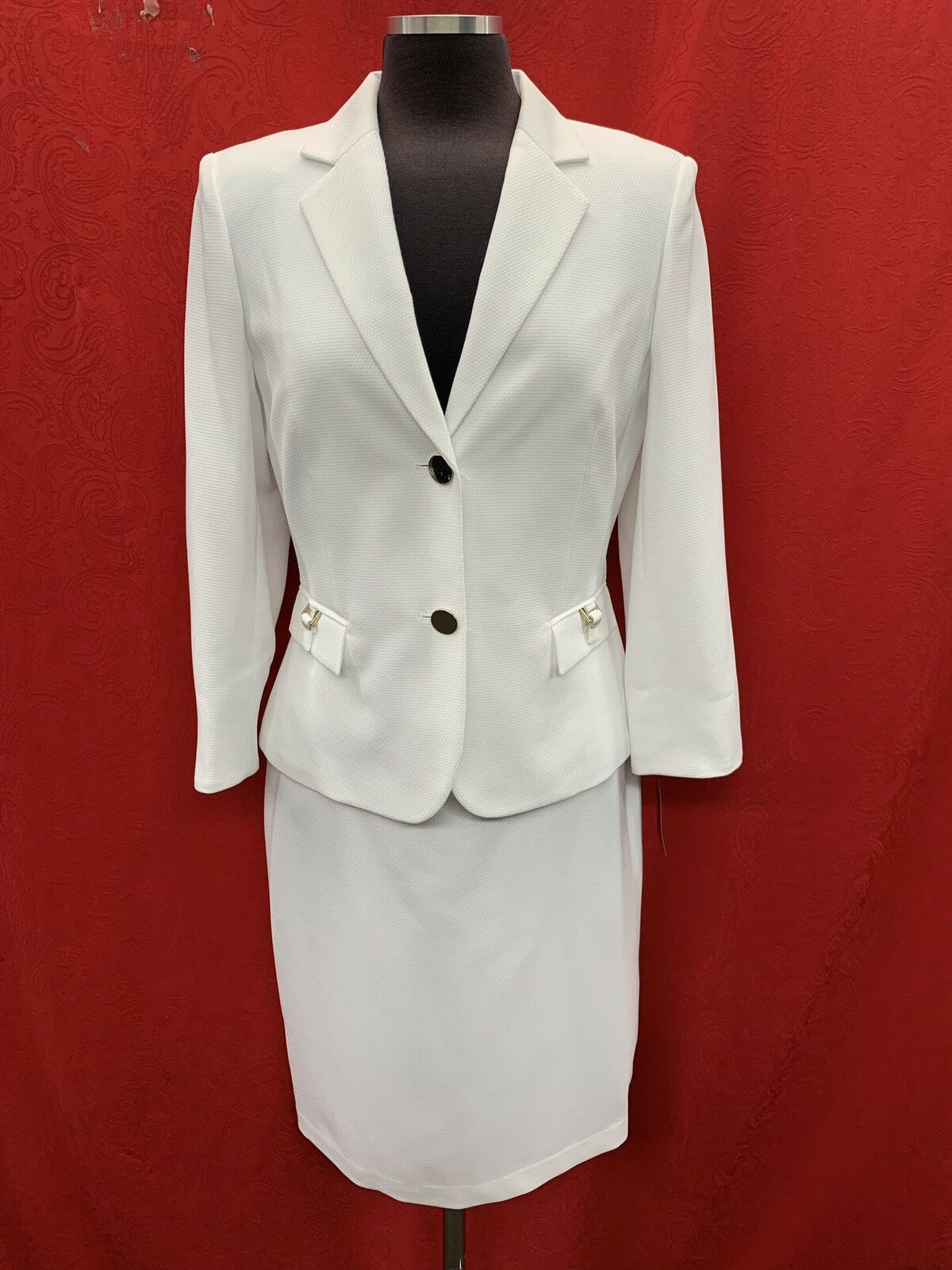 JOHN MEYER SKIRT SUIT WHITE SIZE 18 LINED RETAIL 180 SKIRT LENGTH 24