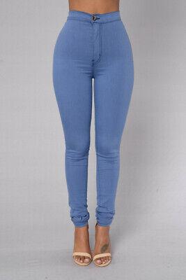 NWT Fashion Nova Super High Waist Denim Skinnies Medium Blue Pants Womens  size 1