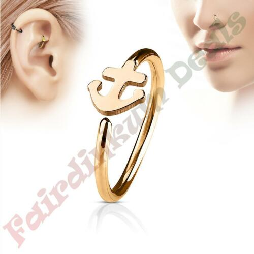 316L Surgical Steel Rose Gold Ion Plated Nose /& Ear Cartilage Ring with Anchor