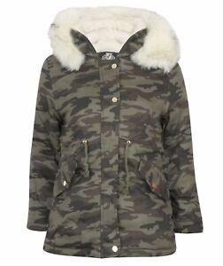 3a468492f1442 Image is loading Girls-Camouflage-Oversized-Fur-Hood-Jacket-Green-4-