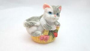 "Polystone 1 7/8"" Grey & White Cat figurine in Basket"