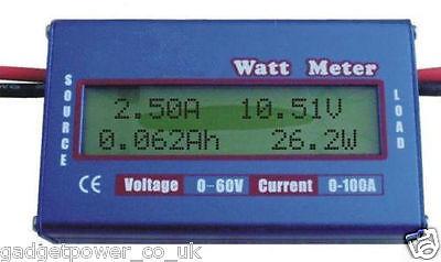 SIMPLE DC POWER ANALYSER WATT VOLT AMP METER 12V 24V SOLAR WIND *SPECIAL LOT*