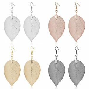 Boho-Natural-Real-Leaf-Womens-Earrings-Drop-Dangle-Ear-Hook-Jewelry-Charm-Gift