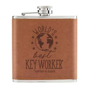 World-039-s-Best-Cle-Travailleur-170ml-Cuir-PU-Hip-Flasque-Fauve-Worlds-Superhero