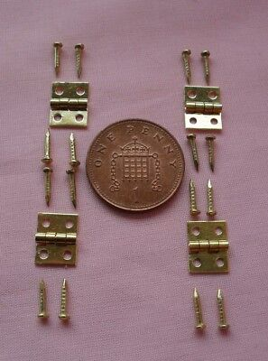 1//12 DOLLS HOUSE 10mm x 8mm MINIATURE BRASS HINGES AND NAILS 20 TWENTY