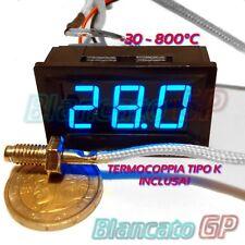 TERMOMETRO -30 ~ 800°C con SONDA TERMOCOPPIA TIPO K 12V DC LED BLU da pannello