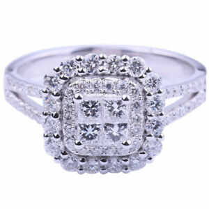 Women 925 Sterling Silver Ring Crystal Square Shaped Ring Lady Engagement Gift A