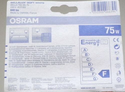 2 Stück Osram Glühlampe Bellalux Bella T60 SIL 75 SOFT WHITE 75W 75 W E27
