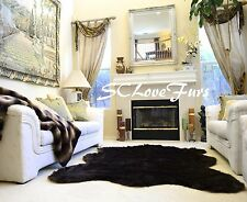 "58"" x 72"" Chubby Sheepskin Large Faux Fur Rug Black Shag Plush Fur Carpet"