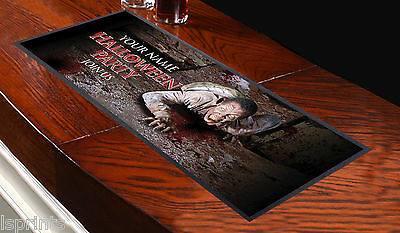 PERSONALISED HALLOWEEN ZOMBIE V1 BAR RUNNER IDEAL FOR HOME COCKTAIL PARTY PUB