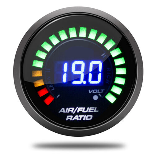 2/'/' 52mm Blue LED Light 12V Digital Black Analog Air Fuel Ratio AFR Meter Gauge