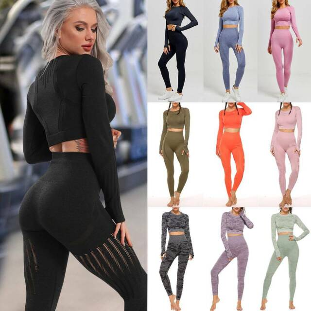 Sports Gym Yoga Running Fitness Leggings Women Athletic Clothes Tops+Pants Sets#