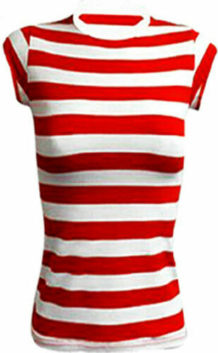 NEW WOMEN/'S RED /& WHITE KIT STRIPE T-SHIRT KIT BOOK WEEK DAY HEN PARTY COSTUME
