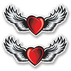 2 X 15cm Heart With Wings Vinyl Sticker Tattoo Laptop Bike Roller