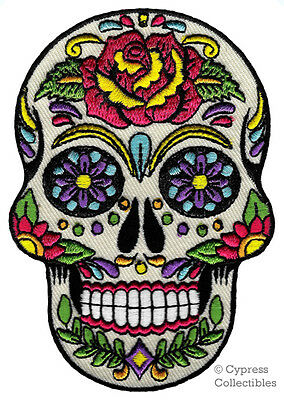 Day Of The Dead Candy Mexican Iron On Skull Patch Patches Badge Embroidered 353