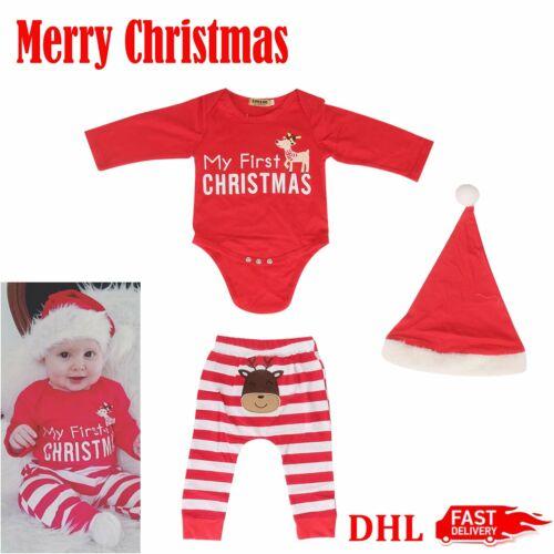 Cute Weihnachten Baby Outfit /'my first Christmas/' Kostüm Hose Hut Xmas Set UG TN