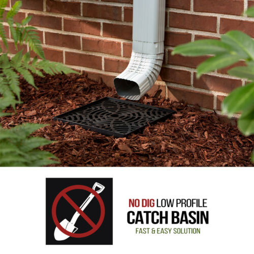 12 Inch No Dig Low Profile Catch Basin Downspout Extension Kit Black