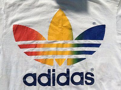 Vintage Adidas Rainbow Trefoil 50/50 80s Rare Tennis Flags Van Der Meer Medium