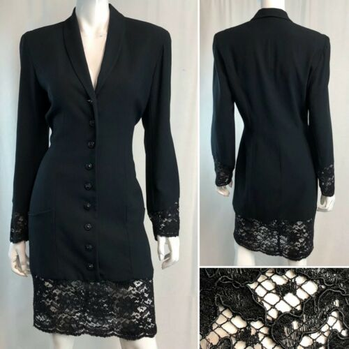 Vintage Women's 10 Black Button Down Lace Sheath K
