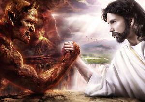 JESUS GOD VS DEVIL SATAN ARM WRESTLE A3 A4 /& LAMINATED ART PICTURE POSTER PRINT