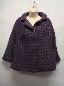 NWT-Charter-Club-Silver-Metallic-Purple-Houndstooth-Flare-Coat-2X-Ret-109
