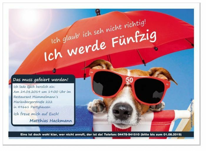 Geburtstagseinladungen lustig originell Text Hund  Feier Party 40. 50. 60. 30 20