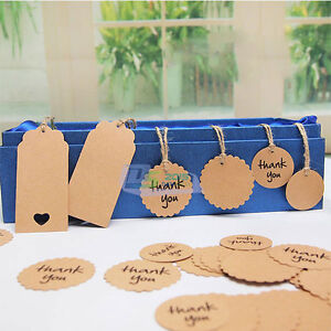 50pcs Retro Wedding Kraft Hang Gift Tags Party Favor Bookmark Label Cards Set