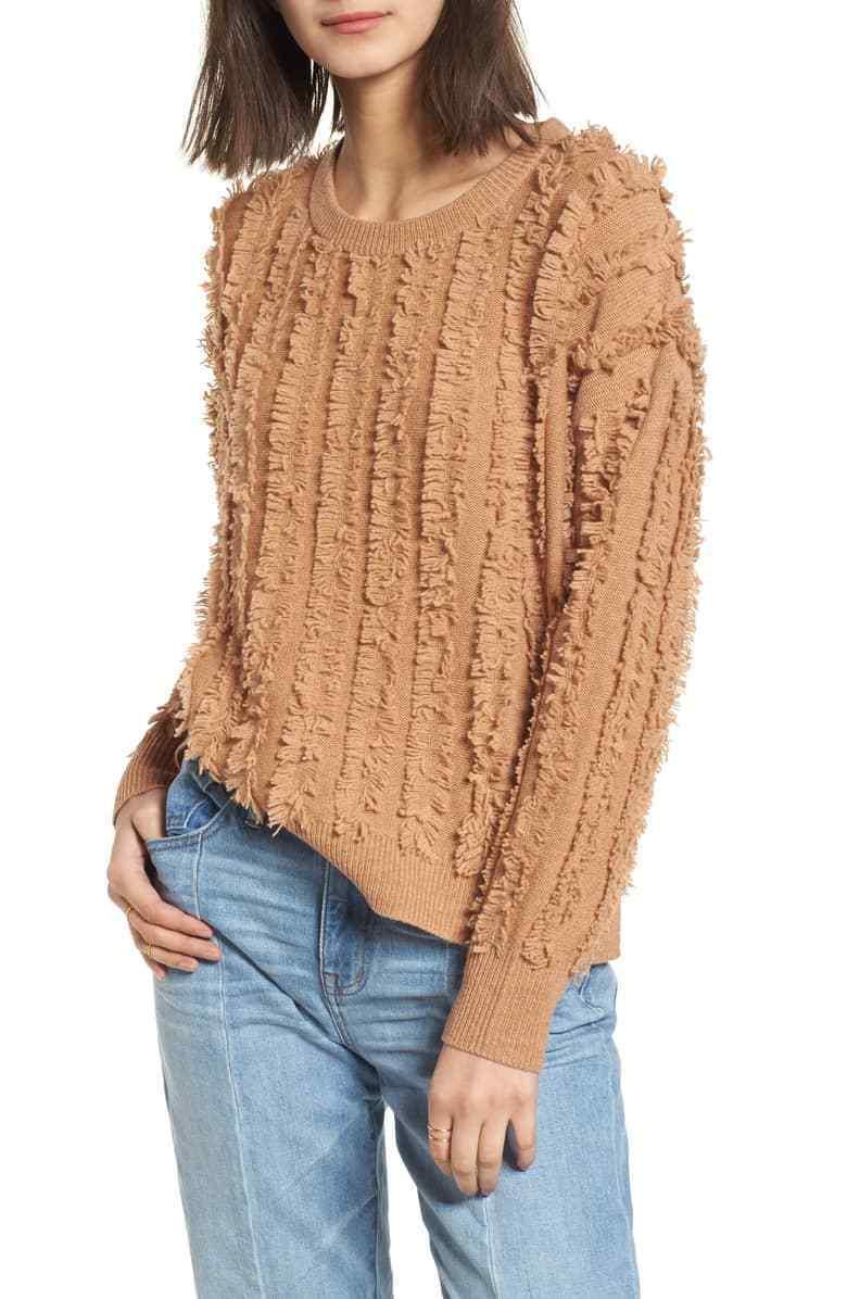 Madewell Women's Size XL Fringe Stripe Stripe Stripe Sweater Heather Timberbeam 04def1