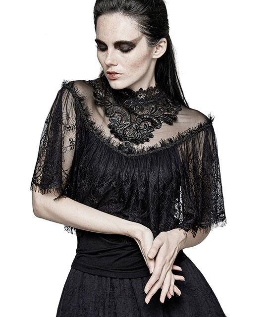 Dark Lace Cape Shirt mit viel Spitze Gothic neo vivtorian Korsett Shirt Bluse
