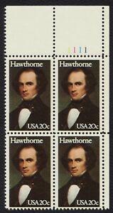 #2047 20c Hawthorne, Placa Bloque [1111 Ur ] Nuevo Cualquier 4=
