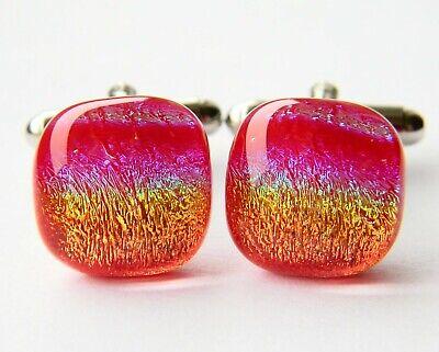 Genuine Dichroic Glass Hand Crafted Cufflinks Red Rainbow Spectrum