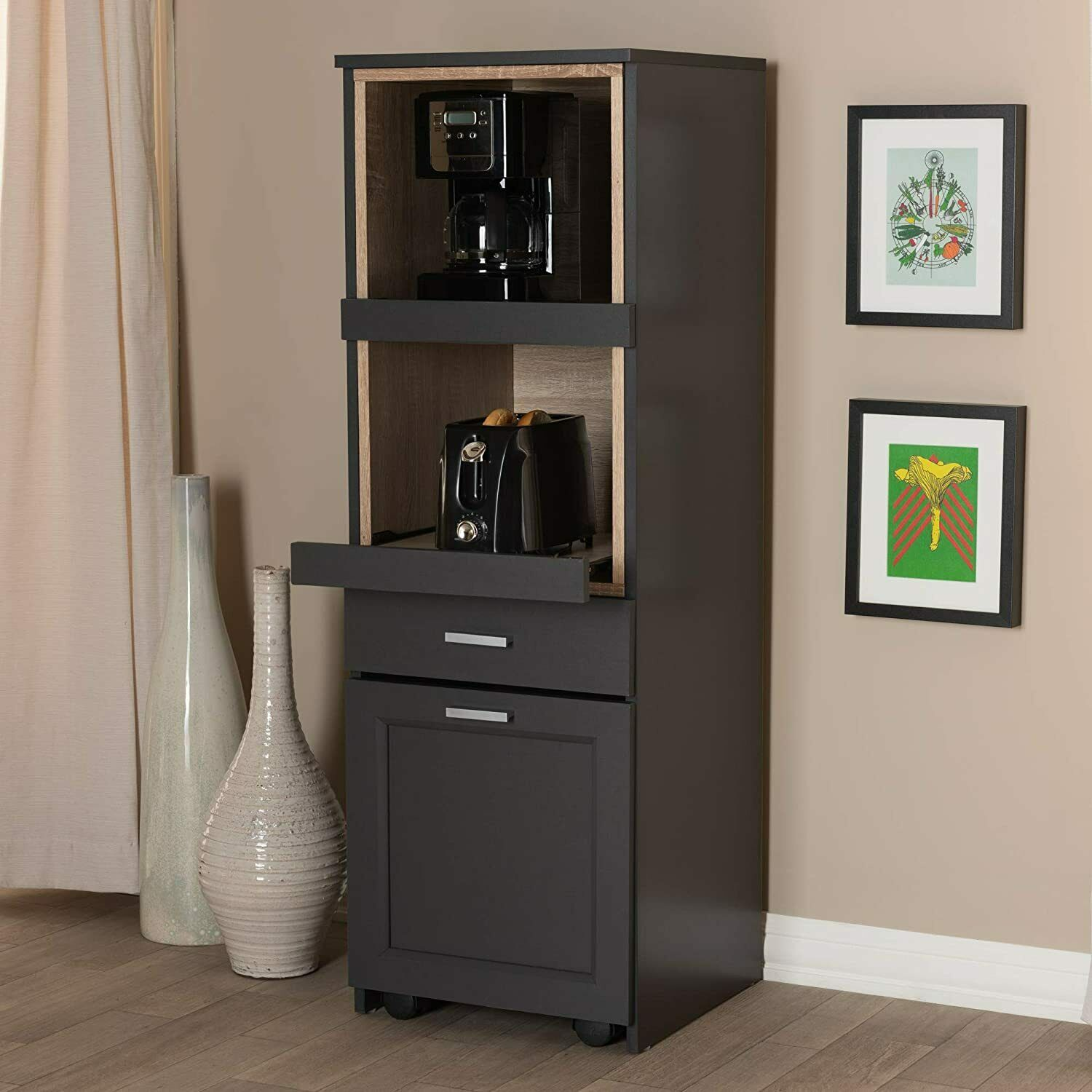 Baxton Studio Fabian Kitchen Cabinet With Roll Out Compartment For Sale Online Ebay