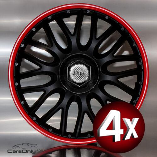 4x RADKAPPEN 13/'/' ZOLL ORDEN RED BLACK RADZIERBLENDEN SCHWARZ ROT NEU