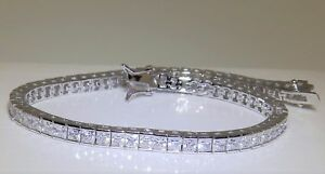 5-CT-D-VVS1-Solid-14K-White-Gold-Princess-Cut-Classic-Tennis-7-25-034-Bracelet